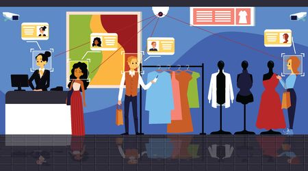 Face biometric identification system scanning visitors in clothing store, flat vector illustration. Concept for web mobile secure technology of facial identification.