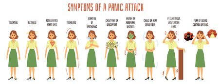 Medical banner or infographic demonstrating panic attack symptoms with woman cartoon character, flat vector illustration isolated on white background.