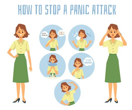 How to stop a panic attack - infographic poster with set of methods to interrupt mental illness.