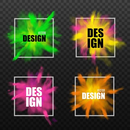 Set of abstract design elements with square frame and color powder splash, realistic vector illustration isolated on transparent background. Paint clouds banners.