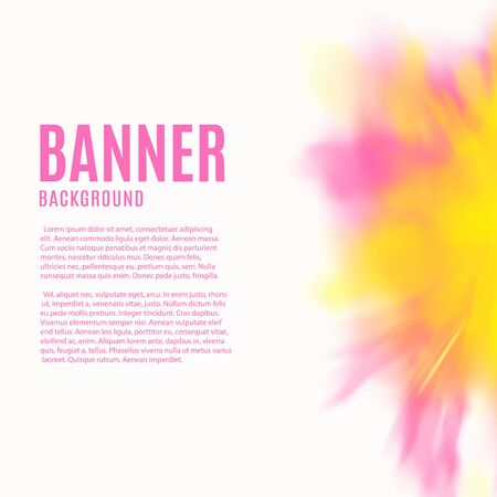 Banner template with colorful splash of paint powder or watercolor mixing flow, realistic vector illustration isolated on white background. Advertising promotion card.