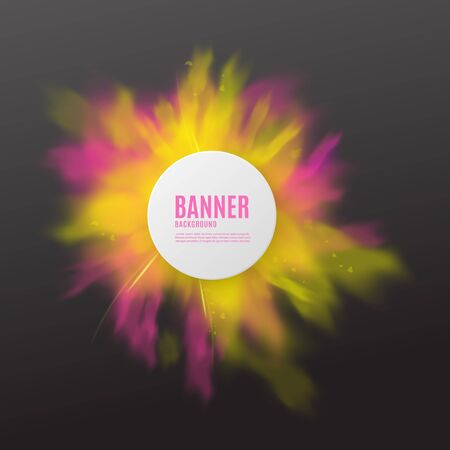Advertising banner layout template with abstract cloud of splashing color, realistic vector illustration on black background. Paint powder splash decorative backdrop.