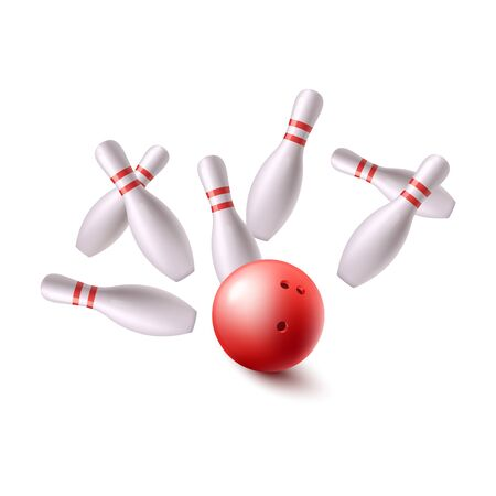 Bowling red ball flying into group of pins, realistic vector illustration isolated on white background. Bowling game equipment or tools logo or banner element. Logo