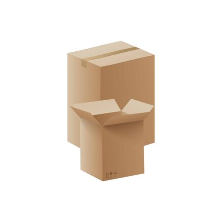Two brown cardboard boxes isolated on white background - open and closed, big and small box mockups for packaging design. Realistic vector illustration.