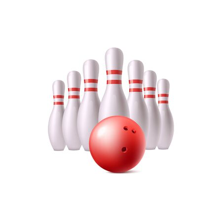Realistic red bowling ball and white pins isolated on white background - leisure equipment for sport competition. Vector illustration.