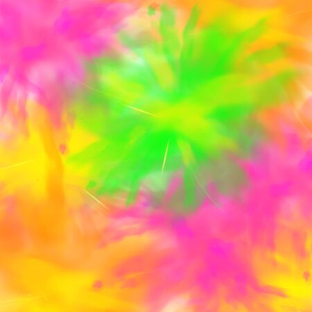 Abstract decorative background or banner with mix and smash of dry paint pigment clouds, realistic vector illustration. Explosion of neon bright colors.