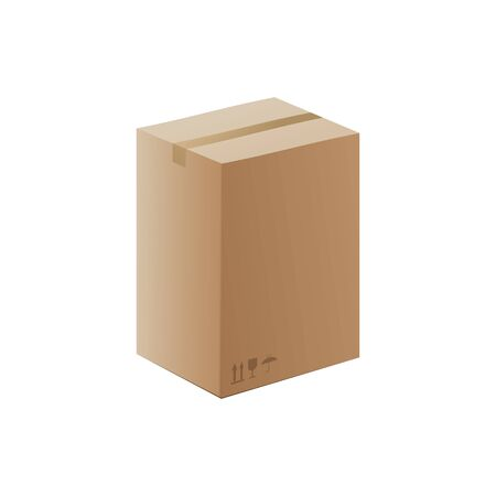 Brown cardboard box mockup closed and sealed isolated on white background. Standard shipping or storage container with blank copy space - realistic vector illustration.