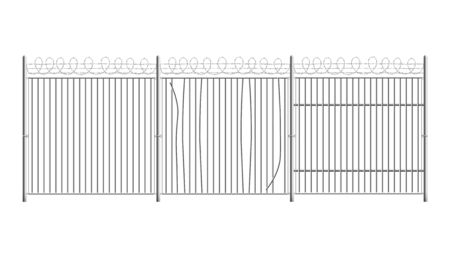 Prison or military, court building secure fence with curved and partly broken steel rods and barbed wire realistic vector illustration isolated on white background.