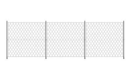 Clôture de prison isolée - frontière de sécurité réaliste avec grille en maille métallique et trois sections sur fond blanc. Illustration vectorielle du mur de prison à mailles losangées.