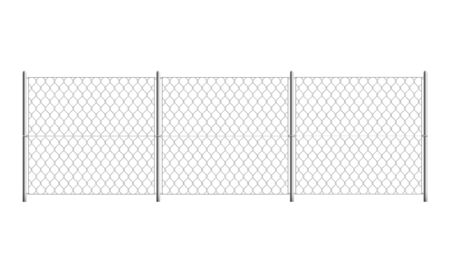 Isolated prison fence - realistic security border with metal mesh grid and three sections on white background. Vector illustration of chainlink jail wall.