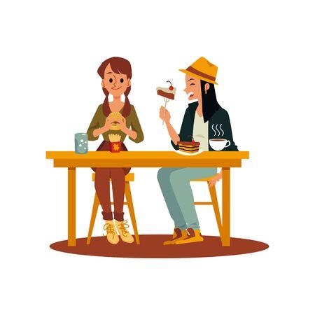 Zwei Freundmädchen, die Junk- und Süßspeisen essen, flache Vektorillustration lokalisiert auf weißem Hintergrund. Frauenzeichentrickfiguren, die ungesundes Mittag- oder Abendessen genießen.