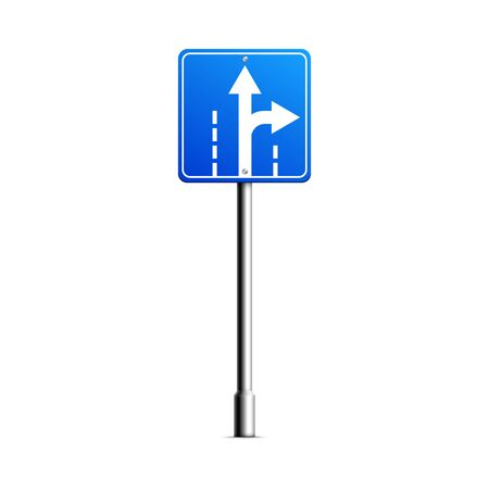 Mockup of blank blue road sign with highway turn pointing arrow, realistic vector illustration isolated on white background. City traffic signpost template.