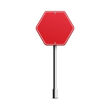 Red hexagonal empty directional road sign board mockup, realistic vector illustration isolated on white background. Template of street sign or signpost blank frame.