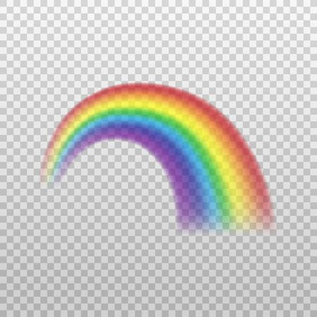 Mockup of rainbow arch curved decorative element, realistic vector illustration isolated on transparent background. Iris spectrum glowing colors effect.