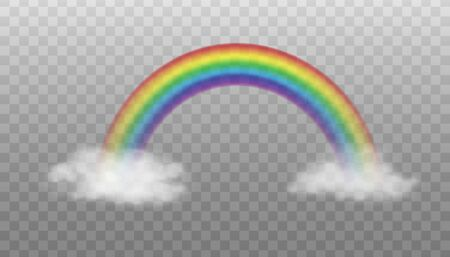 Two clouds connected by rainbow - realistic vector illustration isolated on transparent background. Magical colorful rainbow arc between white clouds.