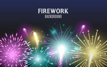 Celebration and holiday banner template with festive fire and fireworks, realistic vector illustration on dark background. Christmas or anniversary light explosions.