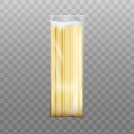 Spaghetti long pasta packaging template, realistic vector illustration isolated on transparent background. Mockup of cellophane pack with macaroni for product branding.