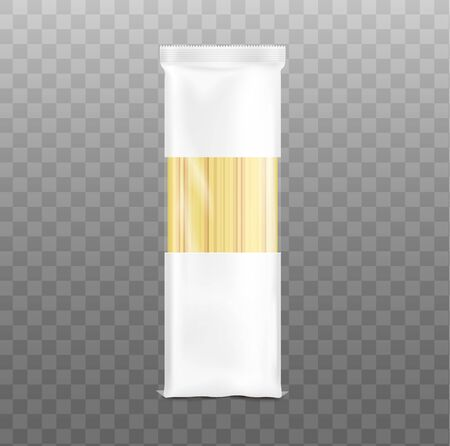 Spaghetti pasta shells blank packaging template, realistic vector illustration isolated on transparent background. Macaroni plastic pack for brand identity mockup.
