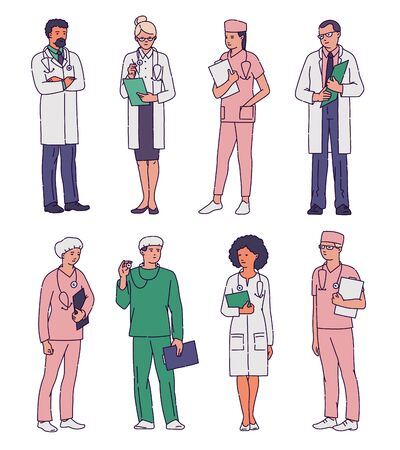 Set of hospital medical staff cartoon characters in uniform, sketch vector illustration isolated on white background. Professional doctors, nurses and specialists. Vector Illustration