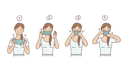 Woman putting on medical mask or protective respirator to prevent Covid-19 and coronavirus disease, sketch cartoon vector illustration isolated on white background.