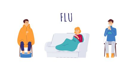 Cartoon people with flu virus symptoms - isolated set of men and woman wrapped in blanket in sofa, soaking feet in warm water and using steam inhaler. Vector illustration. Stock Illustratie