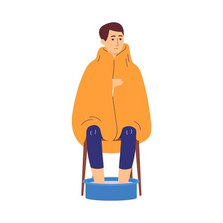 Sick infected man holds his legs in basin of hot water, flat vector illustration isolated on white background. Home treatment of seasonal flu or virus disease.