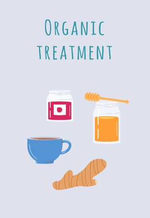 Organic treatment of flu, influenza and cold infection healthcare banner or card, flat vector illustration on blue background. Means for treating colds diseases at home.  イラスト・ベクター素材