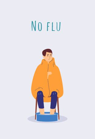 Nu flu poster with sick man with virus soaking feet in warm water - cartoon person wrapped in blanket and sitting on chair. Vector illustration