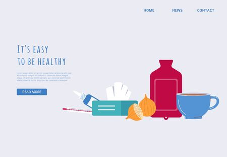 Banner template with home remedy treatment equipment. Flu virus medicine and symptom management objects - vector illustration of medical advice website landing page.