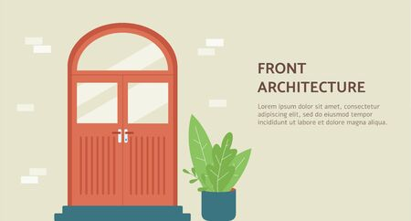 Front architecture banner template for architectural or construction agency with wooden door on brick wall, flat vector illustration. Housing and home staging concept. Illustration