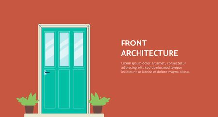 Architecture and home staging agency or company banner template background with house entrance doorway and plants in pots flat cartoon vector illustration.