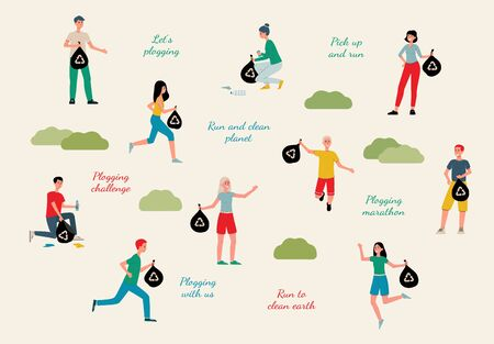 Plogging ecological challenge characters set of running people picking up garbage into litter bags and inscriptions, flat vector illustration isolated on background. Vectores