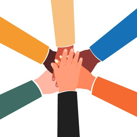 Joined hands of diverse group of people - international collaboration team joining hands together in the center. Arms with colorful sleeves in unity gesture - flat vector illustration.
