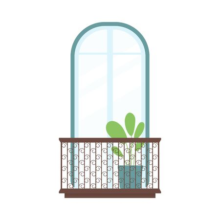 Arched window with balcony, houseplant decor and ornate handrail isolated on white background. Exterior view of window facade with plant - flat vector illustration