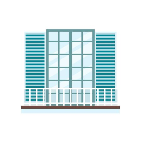 Balcony with double French door or window with open shutters and white railing in classic architecture style isolated on white background. Flat vector illustration.