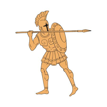Greek or roman ancient warrior or soldier with sword and shield in style of antique greece terracotta painting, vector illustration isolated on white background.