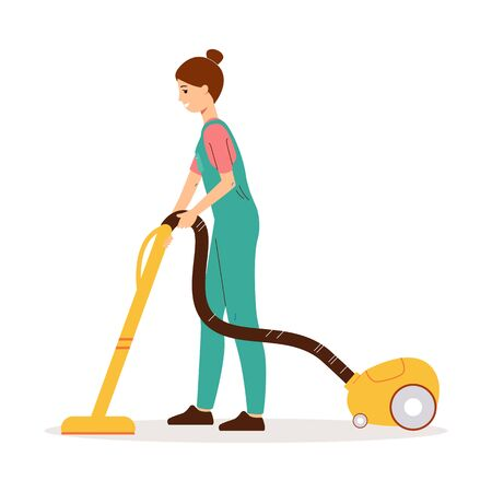 Cleaner woman using yellow vacuum cleaner to clean the floor. Female cartoon janitor in uniform from side view cleaning with electric tool - flat isolated vector illustration Vecteurs