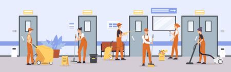Cleaner service team cleaning floors and walls in office or hospital corridor - cartoon people in uniform using equipment to clean up in business building. Vector illustration.