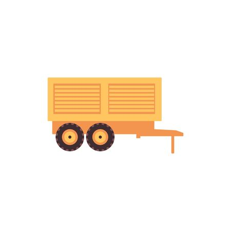 Truck trolley or trailer for tractor icon, flat vector illustration isolated on white background. Farmers and agriculture industry and food manufacturing machinery.