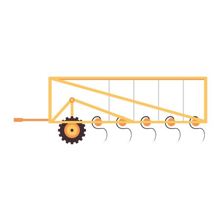 Yellow plough, agriculture machine element isolated on white background. Flat vector illustration of ground plowing equipment, side view of plow with rectangle frame
