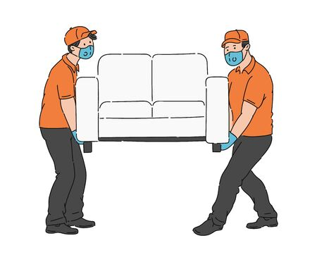 Two furniture movers moving a sofa in medical masks - cartoon men in coronavirus protection respirators and gloves carrying a couch isolated on white background. Flat vector illustration.