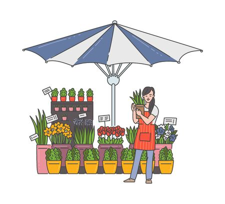 Flower seller woman in outdoor market shop holding house plant in pot - floral stand stall under striped umbrella with cartoon girl selling flowers. Isolated vector illustration.