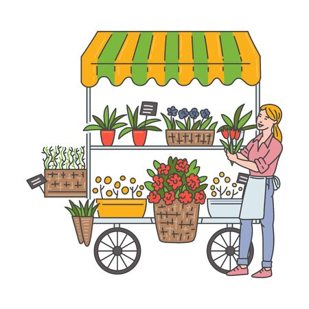 Woman at outdoor flower shop selling floral bouquets from cart on wheels - cartoon seller holding tulips and smiling. Flat flower stand wagon - isolated vector illustration.