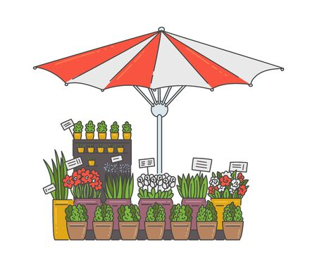 Outdoor flower selling kiosk under striped umbrella - floral market stall stand with houseplants on pots isolated on white background. Flat plant shop booth - vector illustration Stock Illustratie