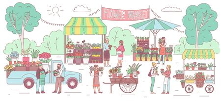 Flower market banner with cartoon people selling and buying flowers outdoor from booth, stall and truck. Floral fair in summer park with house plants and bouquets, vector illustration.