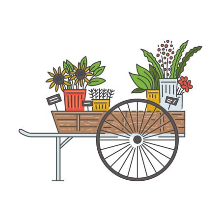 Wooden flower cart on wheels for outdoor floral shop or vendor market isolated on white background. Flat cartoon plant seller wagon with potted flowers, vector illustration.  Stock Illustratie