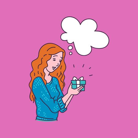 Surprised woman holding gift box with blank thought bubble template - cartoon girl who received a surprise present with ribbon thinking. Flat isolated vector illustration.