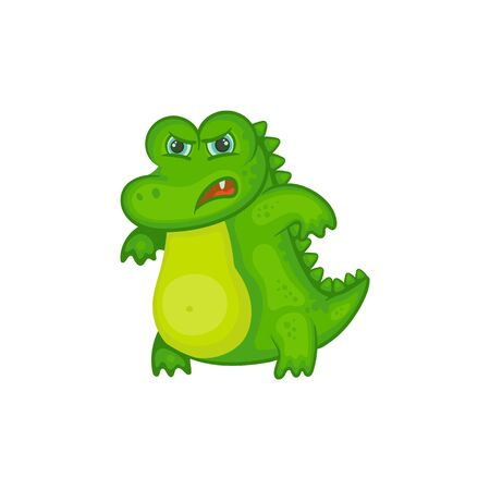 Angry crocodile baby isolated on white background - green cartoon alligator child with upset facial expression standing in agitated pose. Flat vector illustration.