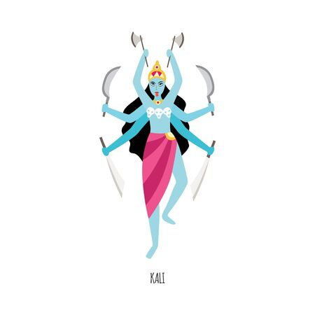 Cartoon Kali - Hindu goddess with six arms isolated on white background. Indian religious deity in form of woman with blue skin holding weapons, vector illustration.