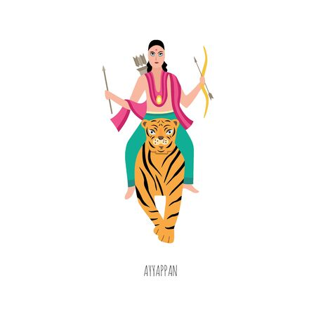 Lord Ayyappan of hindu deity religious tradition image, flat vector illustration isolated on white background. Indian god male character riding on tiger.